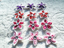 DIY 20pcs/50pcs Satin Ribbon Flower with Crystal Bead Appliques~Craft Trim
