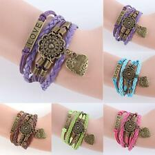 Fashion Vintage Infinity LOVE Heart Flower Friendship Leather Charm Bracelet A12