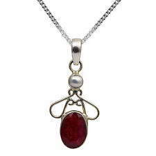 BJC® Sterling Silver Ruby & Pearl Pendant & Solid Sterling Silver Curb Necklace