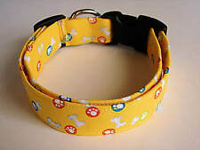 Charming Bright Yellow with Paws & Bones Standard Fabric Dog Collar