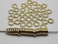 200 Gold Tone Metallic Acrylic Closed Jump Rings Spacer Beads Findings 12X3mm