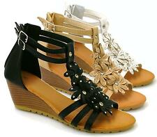 WOMENS LADIES STRAPPY GLADIATOR SUMMER DRESS BEACH MID HEEL WEDGE SANDALS