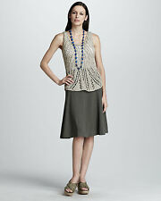 Eileen Fisher Sustainable Taupe Linen Flippy Skirt Size 10 Orig Price $238