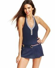 NEW Tommy Hilfiger Belted Swimdress Navy Halter One-Piece Swimsuit Size 4 10 14