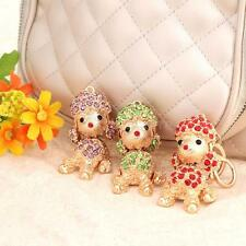 Lucky Poodle Dog Crystal Keyring Charm Pendant Purse Bag Puppy Key Chain M8H1