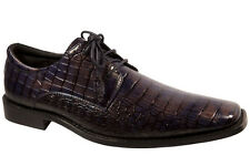 Hazan/Trevi Como Men's Oxford Dress Shoes Purple Mock Crocodile Pattern All Size