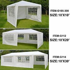10x10/20/30 BBQ Gazebo Pavilion White Canopy Wedding Party Tent With Side Walls