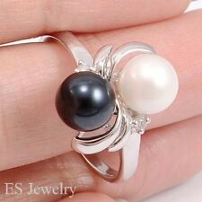 18K & 14K SOLID W GOLD NATURAL DIAMOND 2 AKOYA PEARLS FRIENDSHIP RING SIZE 5 - 9