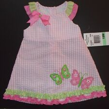 Pink butterfly dress gingham ruffle girls 12 18 24 m NWT Rare Editions