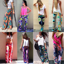 Womens Floral Casual Loose Yoga Pants Stretch High Waist Long Palazzo Trousers