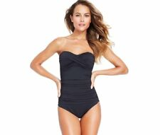 NWT Anne Cole Twist-Front Shirred Bandeau One-Piece Swimsuit Black Size 6 & 8