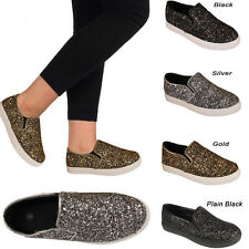 WOMENS TRAINERS LADIES GIRLS PUMPS FLATS SLIP ON GLITTER SKATER SHOES CASUAL GYM