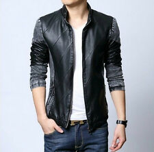Mens Slim Fit Cool Stand Collar PU Leather Denim Fashion Punk Cowboy Jacket Coat