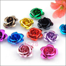 40Pcs Aluminum Rose Flower Spacer Beads 15mm 14Color-1 Or Mixed R5026