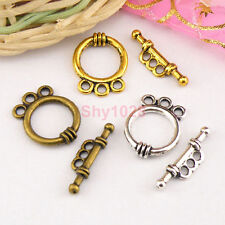 8Sets Tibetan Silver,Antiqued Gold,Bronze 3-Holes Connector Toggle Clasps M1416