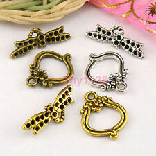 6Sets Tibetan Silver,Gold,Bronze Dragonfly Connectors Toggle Clasps M1380