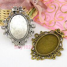 2Pcs Tibetan Silver,Bronze Oval Picture Frame Charm Pendants 46x56mm M1619