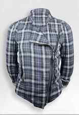 SALE! NEW WOMENS FLY53 'NOMAD' INDIE CHECK CROPPED BIKER JACKET (GREY) h162