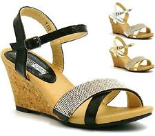 WOMENS PLATFORM HIGH HEEL WEDGE SPARKLY DIAMANTE SANDALS ANKLE STRAP SHOES
