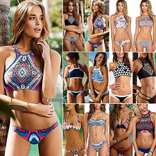 Sexy Womens High Neck Push Up Swimwear Bikini Triangle Swimsuit Padded Beachwear