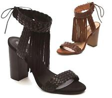 LADIES WOMENS CUT OUT HIGH HEEL ANKLE FRINGE TASSEL GLADIATOR SANDALS SHOES SIZE