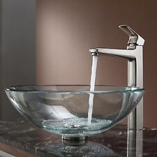 Kraus Clear Glass Vessel Sink and Virtus Faucet