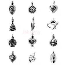 Leaf/Round/Heart Shape Cremation Pendant Silver Stainless Steel Urn Necklace