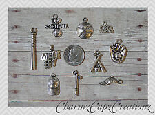 10 pc Silver Softball Charm Set Lot Collection / Bat, Glove, Cap, Love /Jewelry+