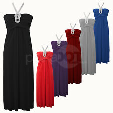 NEW LONG ELEGANT GLAMOROUS NECKLACE EVENING WEDDING PARTY MAXI DRESS