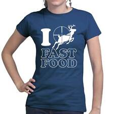 Fast Food Deer Hunting Knife Bow Rifle Tactical Camo Survival Ladies T shirt Top