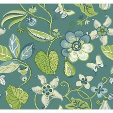 """York Wallcoverings Carey Lind Vibe Sea 27' x 27"""" Floral and Botanical Wallpaper"""