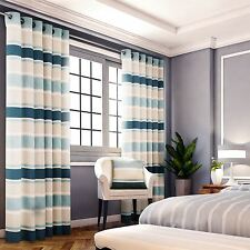 CHENILLE JACQUARD STRIPED TEAL CREAM LINED RING TOP CURTAINS DRAPES *6 SIZES*