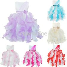 Ruffle Flower Girl Kid Princess Party Pageant Wedding Bridesmaid Tutu Gown Dress