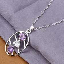 women's jewelry Necklace in silver Silver plated Crystal Oval Purple Heart Gift