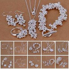 Fashion 925 Sterling Silver Plated Chain Bracelet Earring Necklace Jewelry Set
