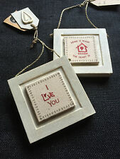 EAST OF INDIA - Gorgeous Framed Hand-Stitched Square Hanging Sign