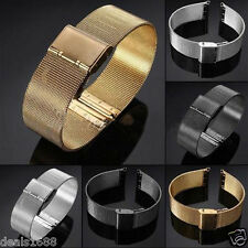 18/20/22/24mm Stainless Steel Wrist Watch Mesh Band Strap Double Clasp Bracelet