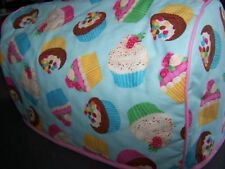 Blue Party Cupcakes Quilted Fabric 2-Slice or 4-Slice Toaster Cover NEW