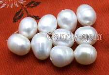 Wholesale 10 pieces Big 10-11mm Rice White Natural Freshwater 2mm hole pearl-644