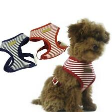 DOG Puppy Blue Striped Breathable Harness Safety Walk Vest Chest Collar XS-XL