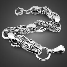 Solid Sterling Silver Thai Silver Dragon Chain Super Men's Bracelet PB165
