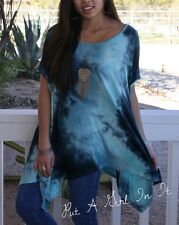 PLUS SIZE BLUE MINT TIE DYE DOLMAN SHIRT LOOSE TUNIC SHARKBITE ONE SIZE 1X 2X 3X