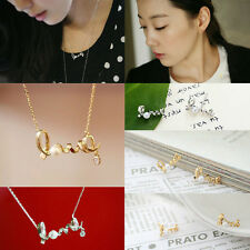Pearl Alloy Plated Rhinestone Love Letter Ear Stud Necklace Earring Jewelry Set