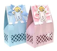 BOYS GIRLS CHRISTENING CARTOON BABY FAVOUR GIFT BOXES, NAMING, SWEETS BLUE PINK