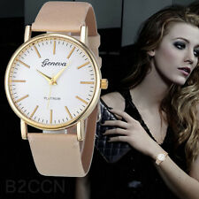 Geneva Mode Simple Uhr Damen Freizeit Analog Leder Quarz Armbanduhren