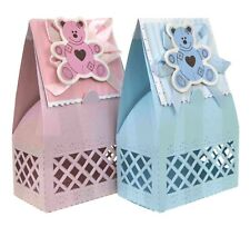 BOYS GIRLS CHRISTENING TEDDY BEAR BABY SHOWER FAVOUR GIFT BOXES SWEETS BLUE PINK