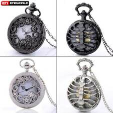 Steampunk Gear Rib hollow Quartz Pocket Watch Women mens Gift Necklace Chain Lot