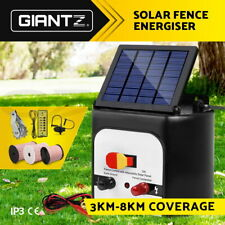 3/5/8/15km Solar Fence Energiser Power Charger Polytape Wire Fencing Accessories