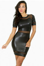 WOMENS BLACK DRESS PVC WET LOOK FAUX LEATHER COSTUME CELEB LINGERIE SIZE 8 10 12