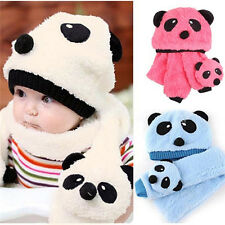 Toddler Infant Boys Girls Baby Kid Xmas Warm Panda Head Cap Beanie Scarf hat